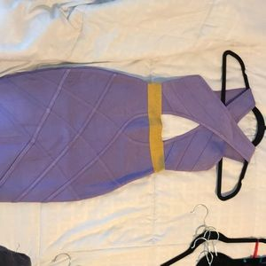 Purple and gold Herve Leger Bandage Dress